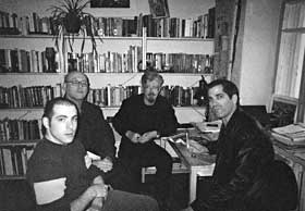 Left to right: Jake Rudnitsky, John Dolan, Edward Limonov, Mark Ames